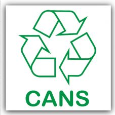 1 x Cans Recycling Bin Self Adhesive Sticker-Recycle Logo Sign-Environment Label